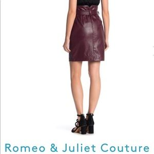 Burgundy Belted Zip Faux Leather Skirt.